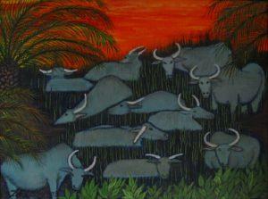 Buffalos & palm trees acrylic on canvas 18x24