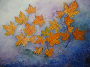 Falling leaves mix media on paper 13x17 sold