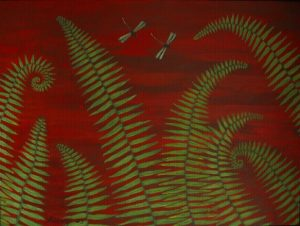 Ferns & dragonflies 1 acrylic on canvas 18x24