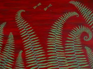 Ferns & dragonflies 2 acrylic on canvas 18x24 sold
