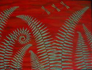 Ferns & dragonflies 3 acrylic on canvas 18x24 sold