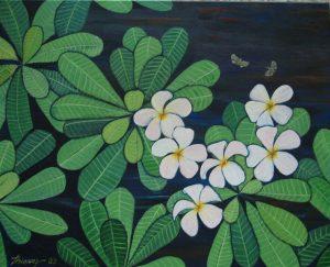 Plumeria & bees acrylic on canvas 24x30 sold