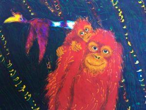 Kinabatangan series'mother & child orangutan', acylic, wax on cloth (58 x 43) cm