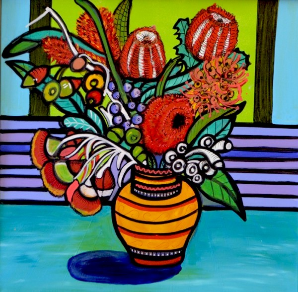 Aussie Bouquet, acrylic on canvas, 61cm x 61cm