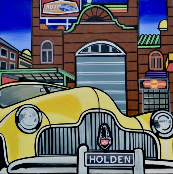 Australia's no 1 holden, mixed media on canvas, 90 x 90cm