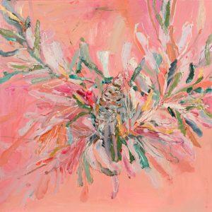 Banksia beauty, oil on linen, 64 x 64cm