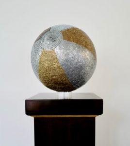 Beachball, copper brass, bronze and zinc nails on pine, 30cm round