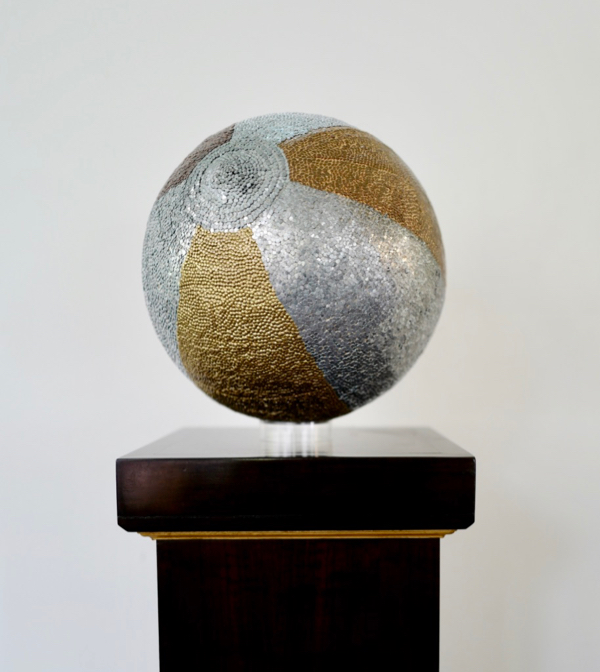 Beachball, copper brass, bronze, zinc nails and pine, 30cm round