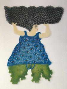 Beast series 1 (acrylic on buffolo hide) (35x28)cm