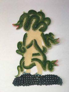 Beast series 8 (acrylic on buffolo hide) (29x18)cm