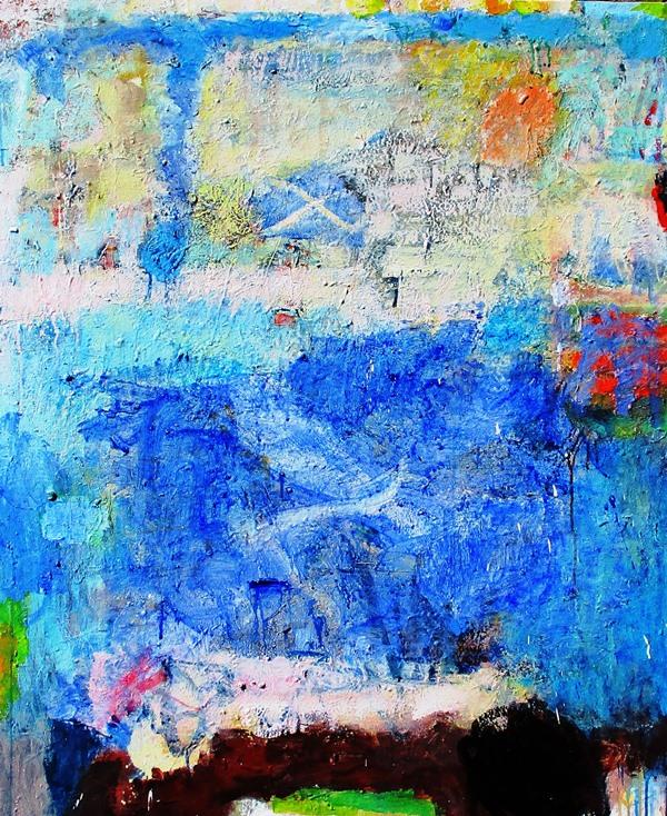 Blue harbour, acrylic on canvas 102 x 84cm