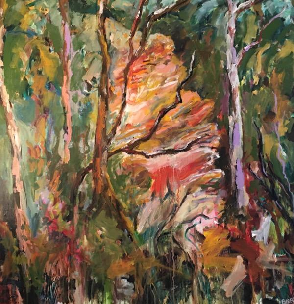 Blue Mountains Bushwalk, acrylic on canvas, 92 x 92cm