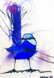 Blue wren ii, mixed media on canvas, 53 x 38cm