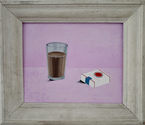 Chocolate milk and cigarettes, oil on linen on board, 1940s french gesso frame, 49 x 58cm