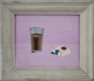Chocolate milk and cigarettes, oil on linen on board, 1940s french gesso frame, 56 x 48cm