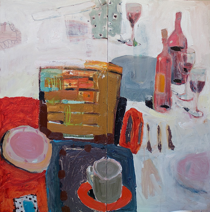 Conversation 2, oil on board, 82 x 82cm