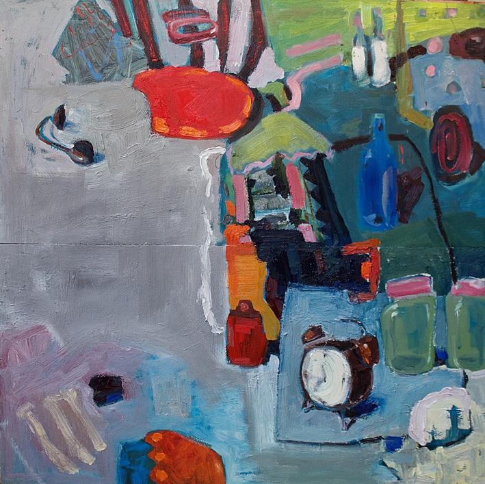 Conversation 3, oil on board, 82 x 82cm
