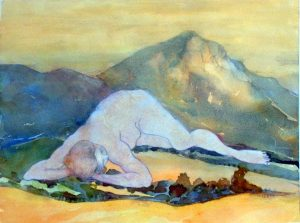 Dreaming of the mountains, mixed media on paper, 44 x 58cm (incl frame)