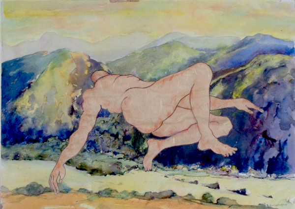 Floating over Omeo, mixed media on paper, 72 x 94cm (incl frame)