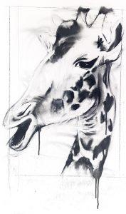 Giraffe i, mixed media on canvas, 60 x 45cm