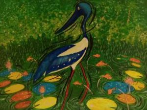 Heron, acrylic on paper (73 x 58) cm