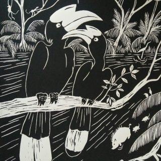 Lino print, hornbill 'black' (30x40)cm