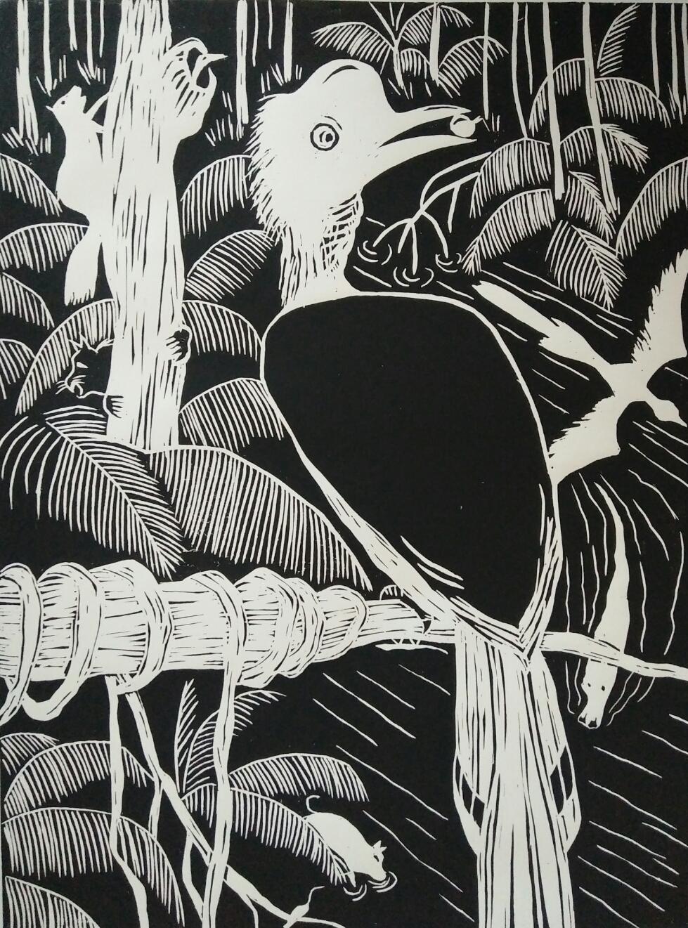 Lino print, hornbill 'helmeted' (30x40)cm