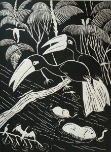 Lino print, hornbill 'pied' (30x40)cm