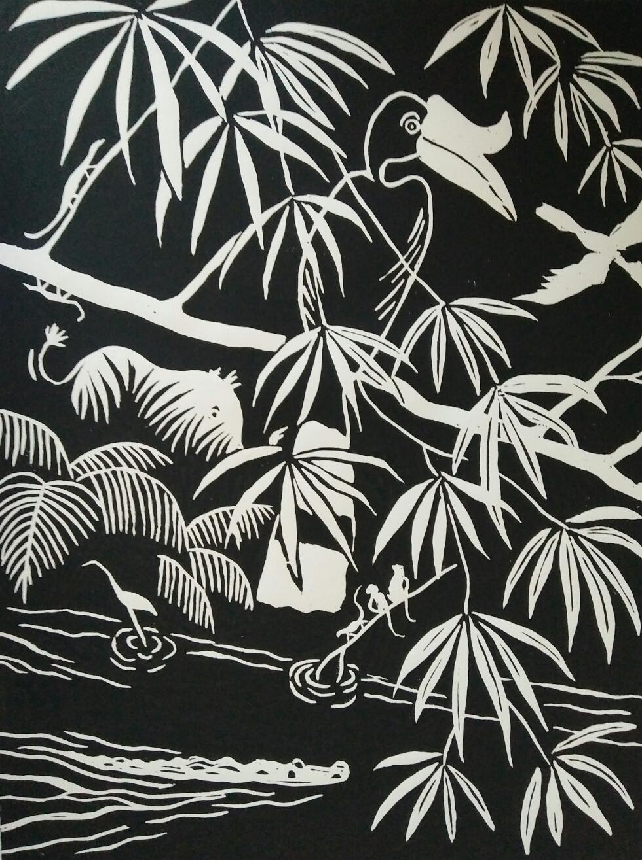 Lino print, hornbill 'rhinoceros' (30x40)cm