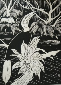 Lino print, hornbill wreathed' (30x40)cm