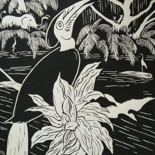 Lino print, hornbill wreathed' (30x40)cm