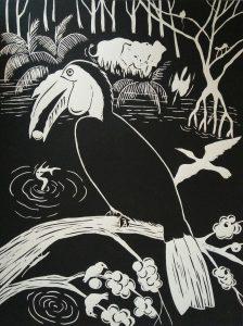 Lino print, hornbill 'wrinkled' (30x40)cm