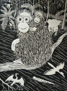 Lino print, orang utan 'mother & child' (30x40)cm