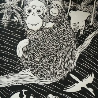 Lino print, orang utan 'mother & child' (30x40)cm