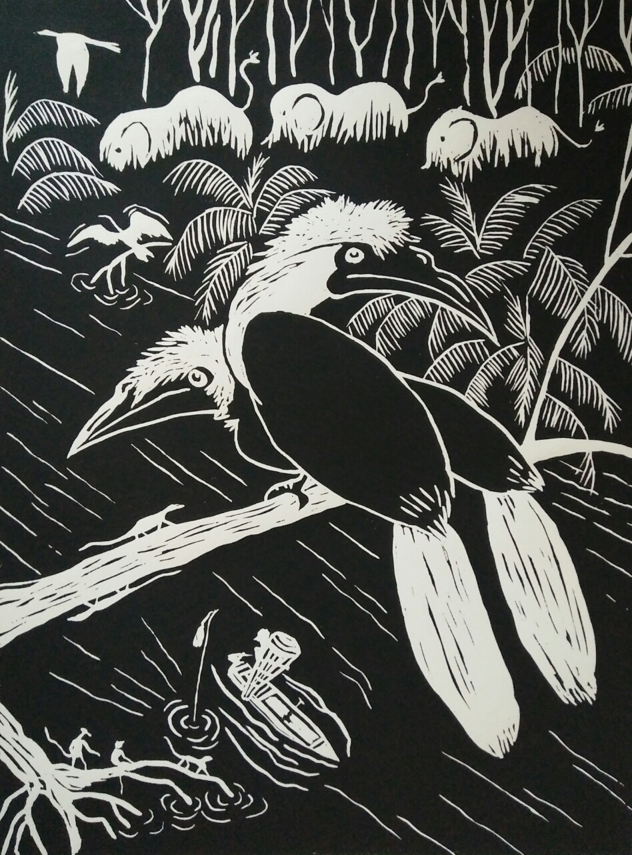 Lino print, 'white crested' (30x40)cm