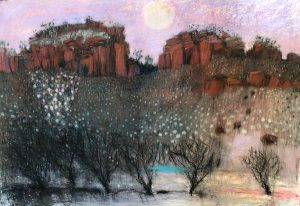 Morning moon, road to lawn hill, pastel on paper, 70 x 100cm