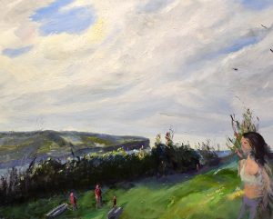 North head from middle head 2, oil on linen, 58 x 75cm (incl frame)