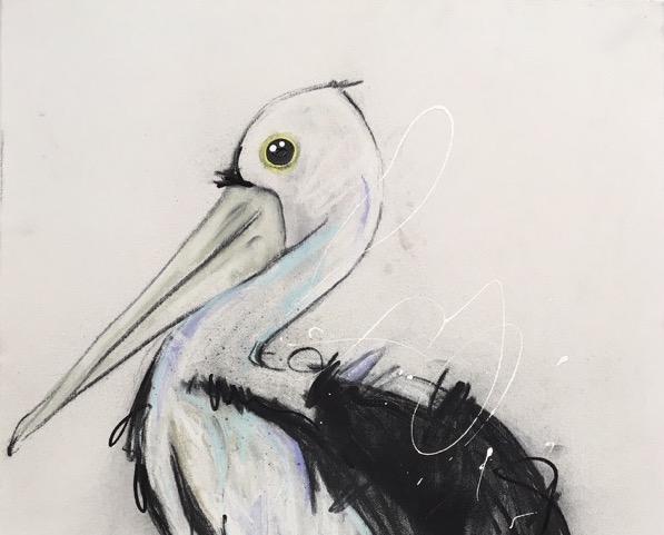 Pelican, mixed media on canvas, 41 x 51cm copy