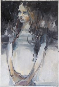 Portrait of a young woman, oil on loose canvas, 76 x 52cm