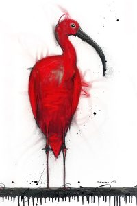 Scarlet ibis, mixed media on canvas, 92 x 46cm