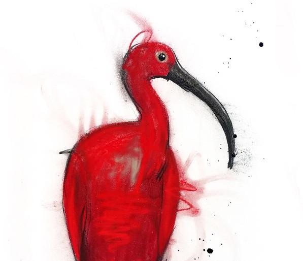 Scarlet ibis, mixed media on canvas, 92 x 46cm copy