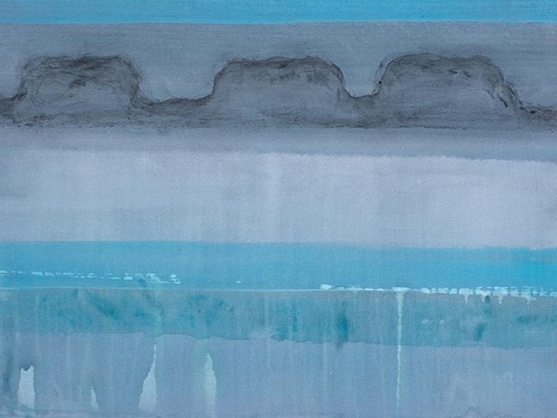 Silent landscape, mixed media on canvas, 183 x 83cm