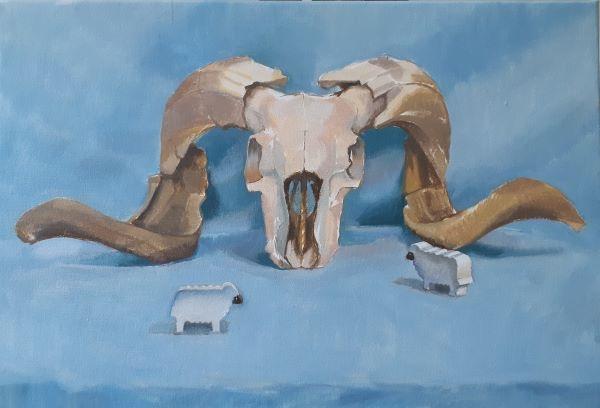 The flock, oil on canvas, 38 x 55cm
