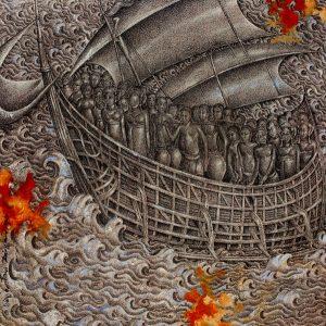 The treasure of archipelago, ink & acrylic on canvas, 80 x 80cm