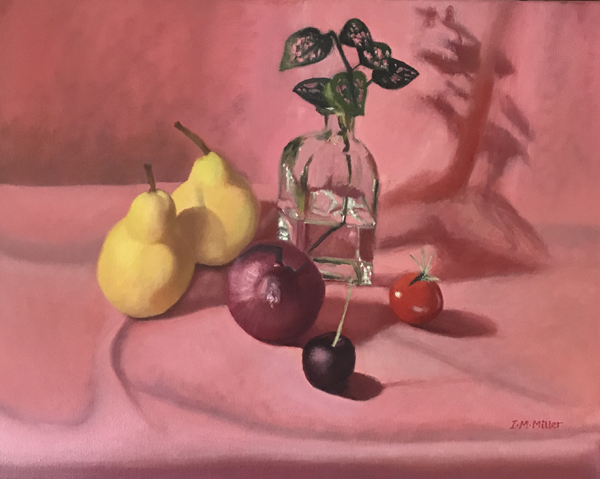 Two Pears & Hearts, oil on canvas, 40 x 50cm