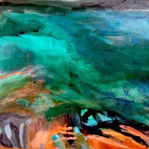 Untamed seas, acrylic on canvas, 61 x 61cm