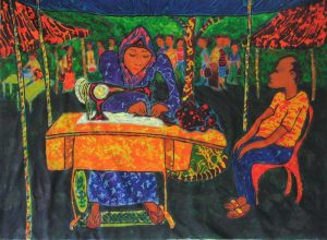 Seamstress with client, acrylics, wax on cotton cloth, 122 x 91 cms