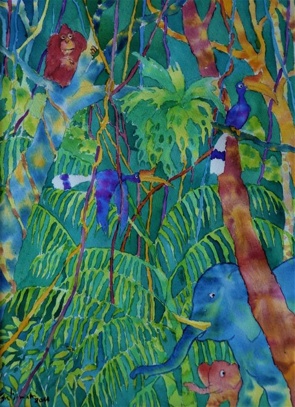 Bilit Jungle 1, watercolour on paper, 40 x 30cm