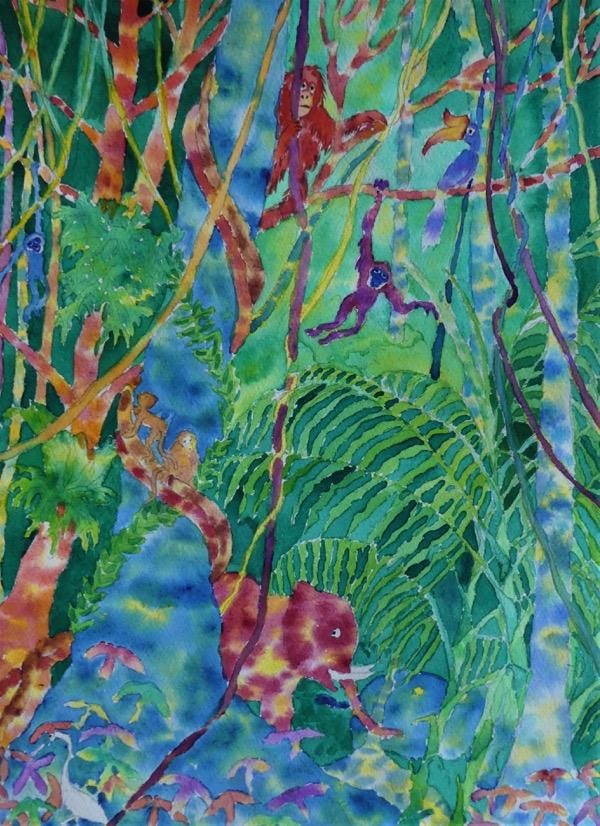 Bilit Jungle 2, watercolour on paper, 40 x 30cm