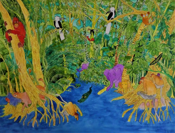 Bilit rainforest 2 ink and watercolour on board, 49 x 37cm copy